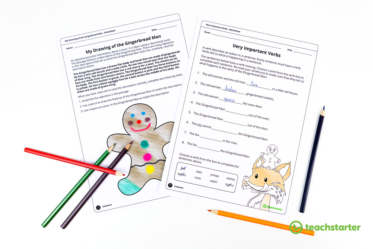 gingerbread man drawing adjectives worksheet and verbs worksheet