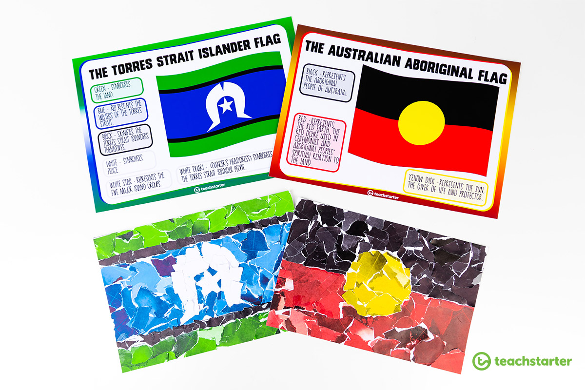 Aboriginal and Torres Strait Islander flags posters and flag collage craft activity