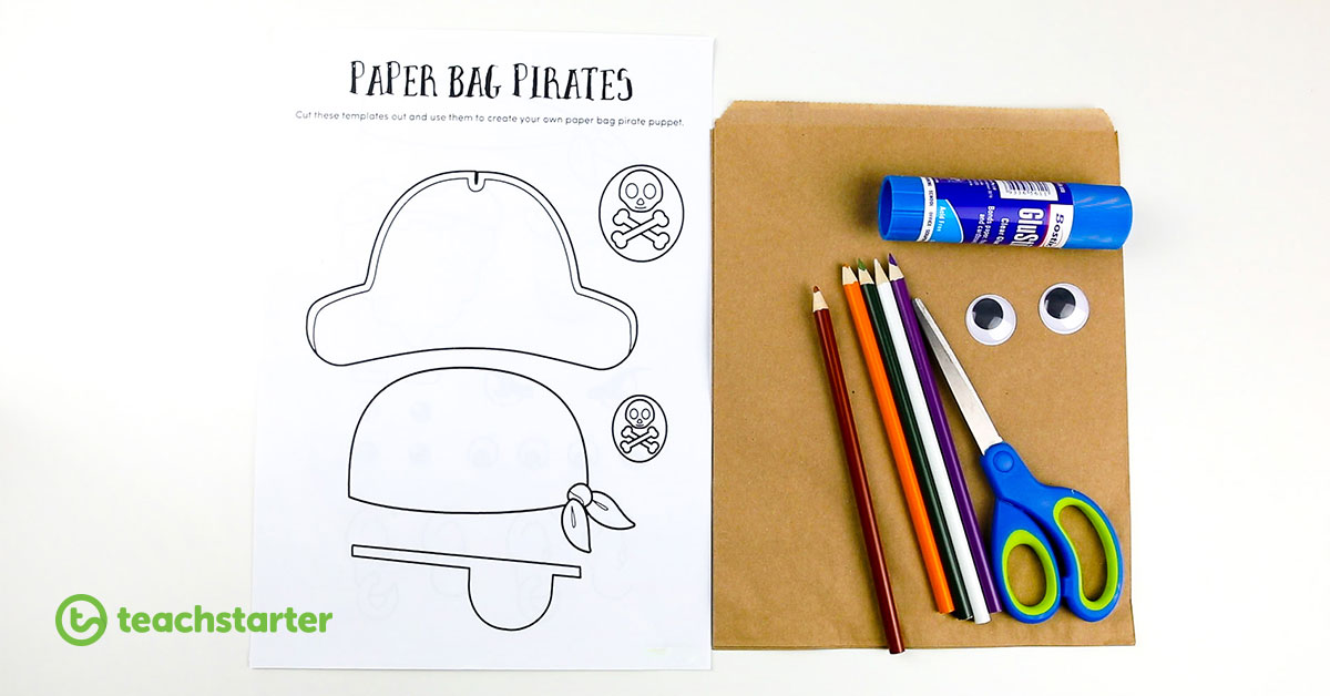 paper bag pirates freebie printable template