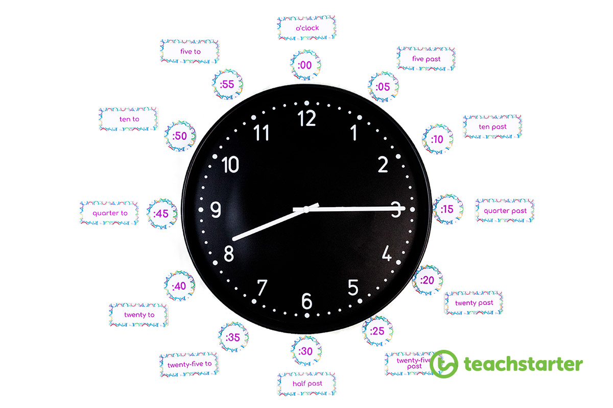 clock with printable labels for kids