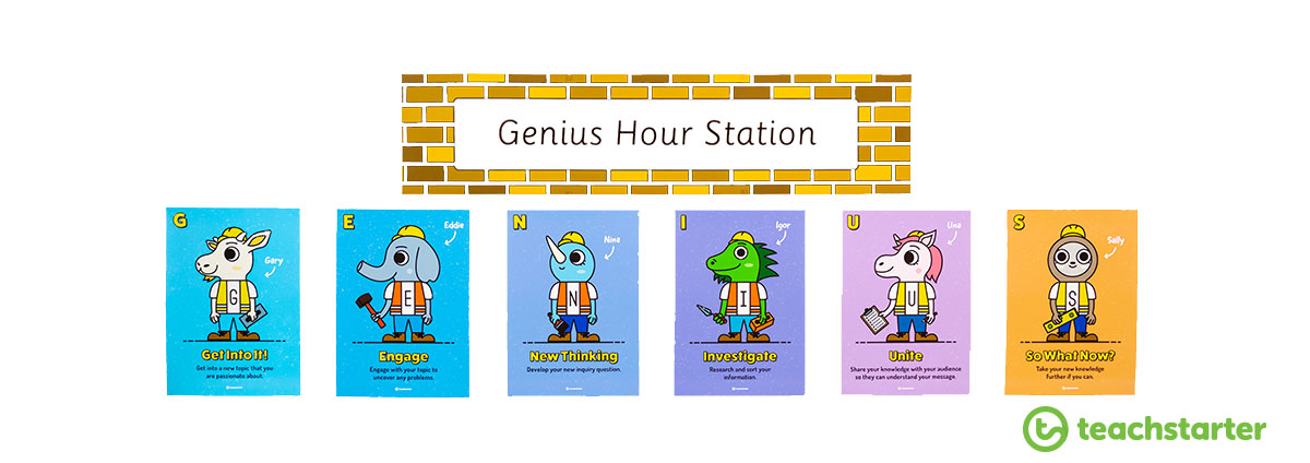 six steps to genius hour printable posters