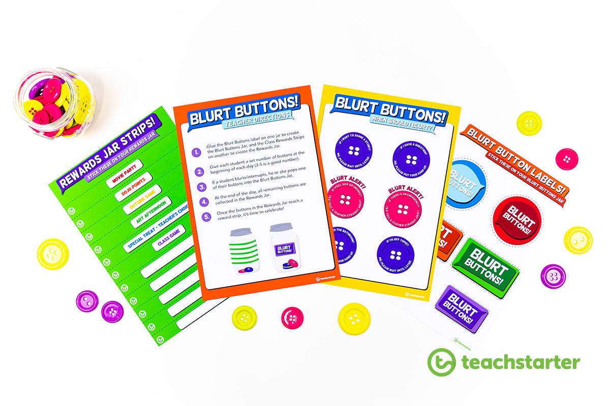 Blurt Buttons Blurt Beans Calling Out Behaviour Management Classroom