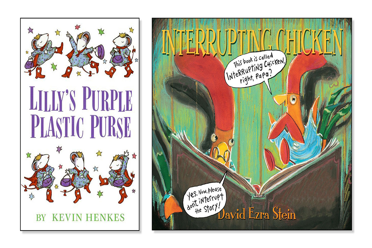 Books about calling out and blurting Lilly's Purple Plastic Purse and Interrupting Chicken
