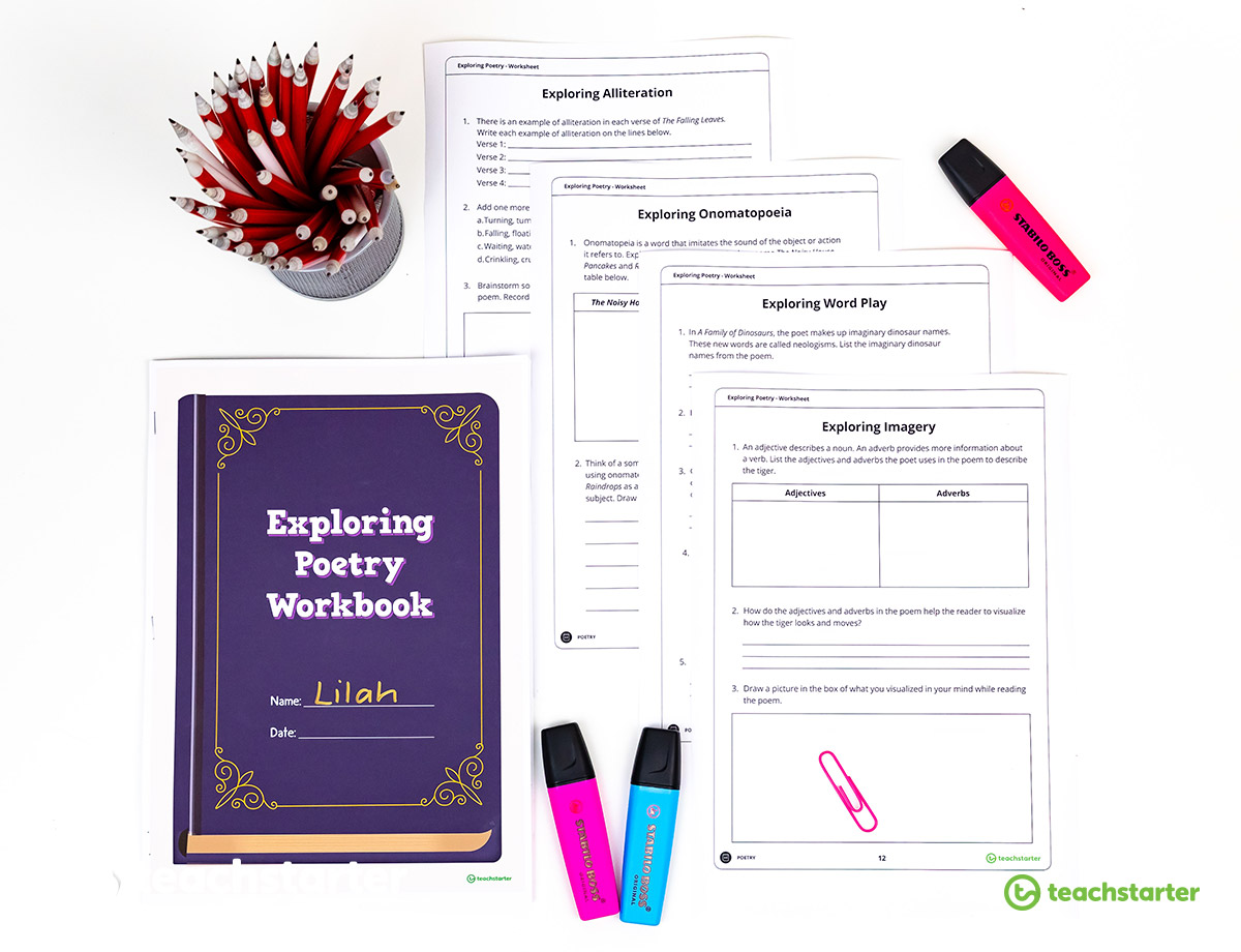 poetry resource folder teaching planning workbook sheets poetry resources