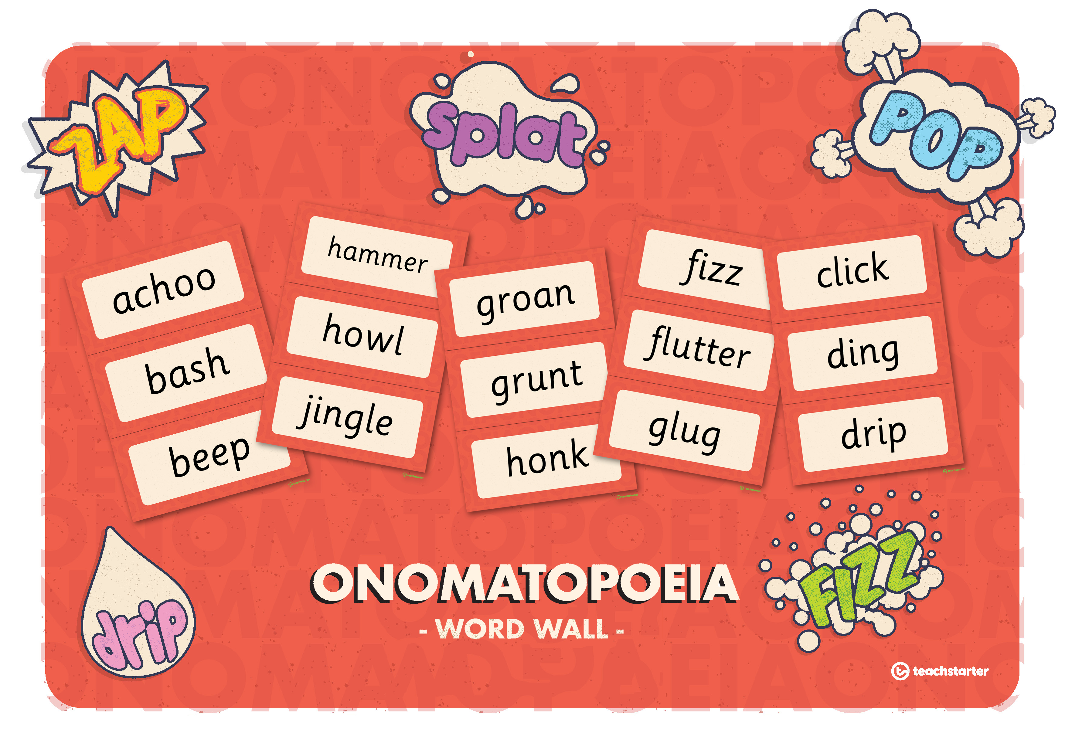 how to teach poetry resources onomatopoeia word wall