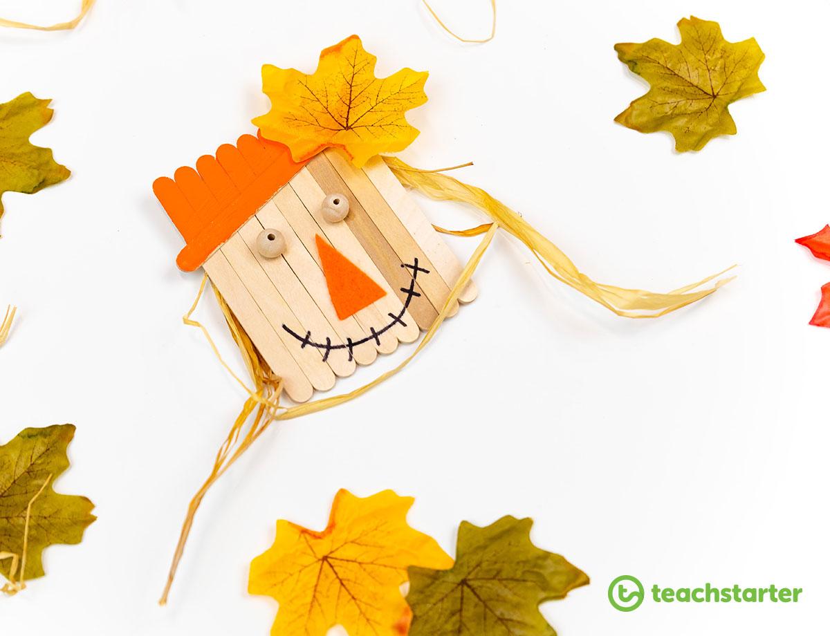 Popsicle stick scarecrow Halloween craft activity