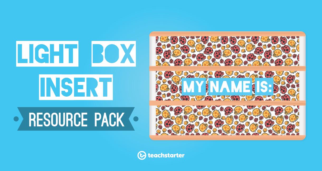 light box insert resource pack teachers downloadable students