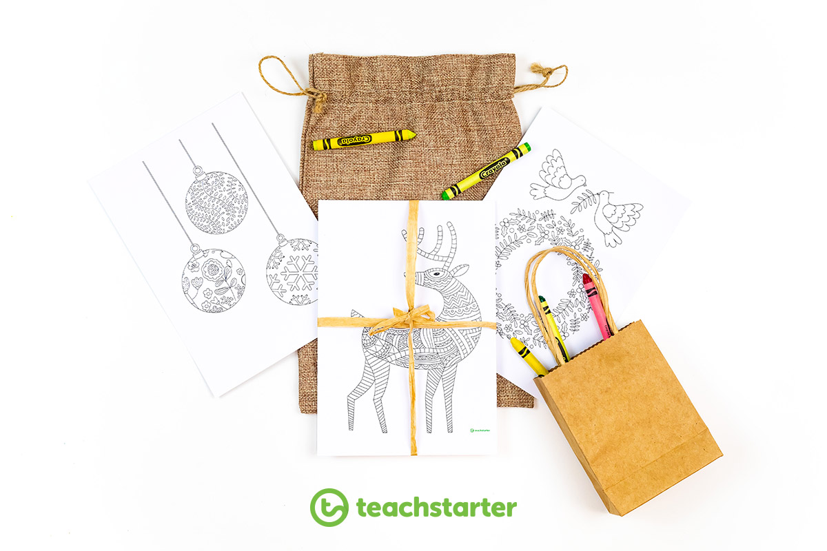 Gifts for students colouring in bags coloring kits Christmas mindfulness