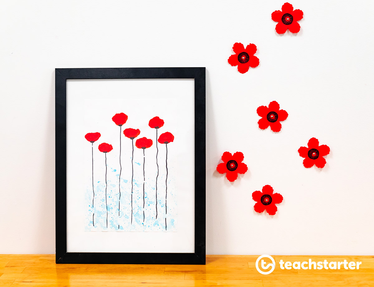 Remembrance Day Poppy Artwork Activity Craft Student Teacher Kids