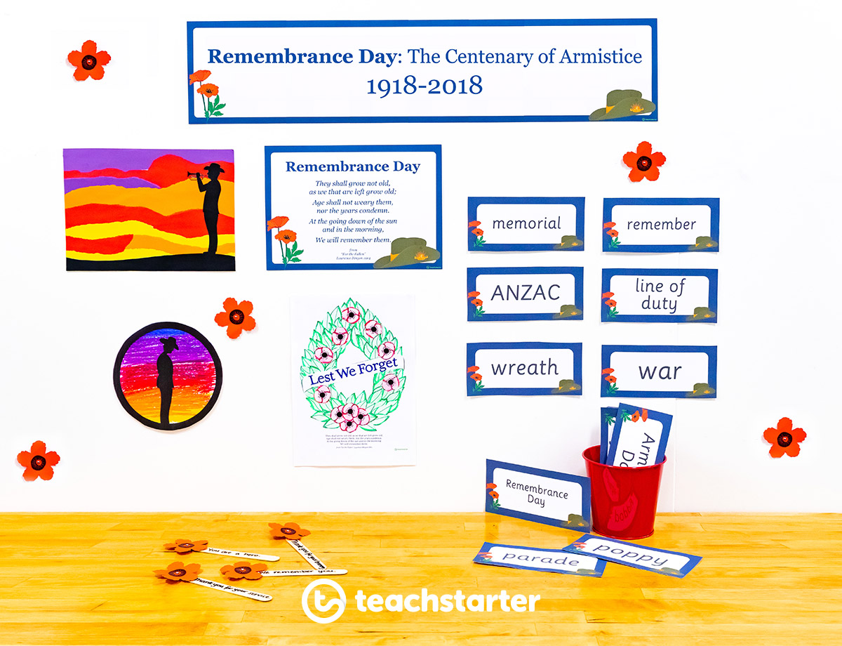 Remembrance Day veterans day poppy day craft activity word wall learning downloadable