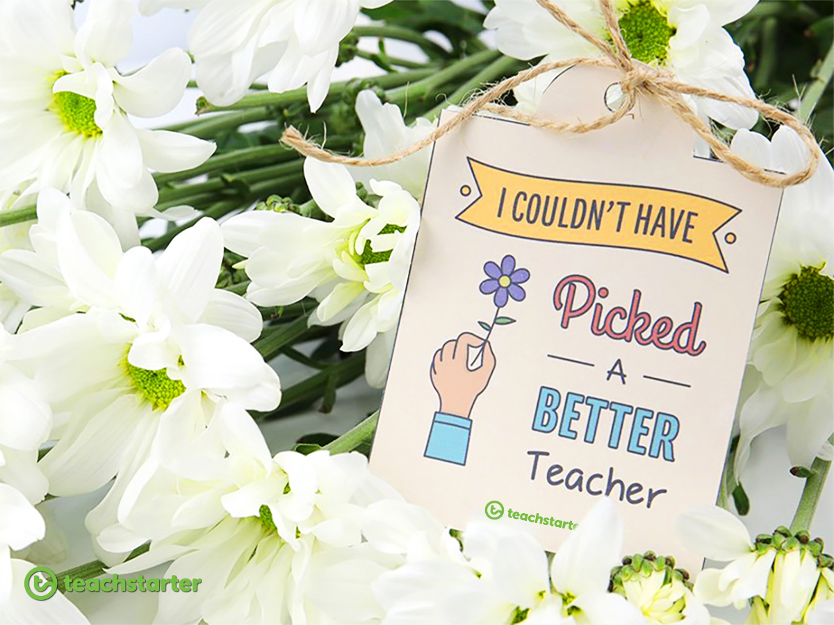Gifts for Teachers Flowers Thanks a Bunch Beautiful Blooms Gift Tag