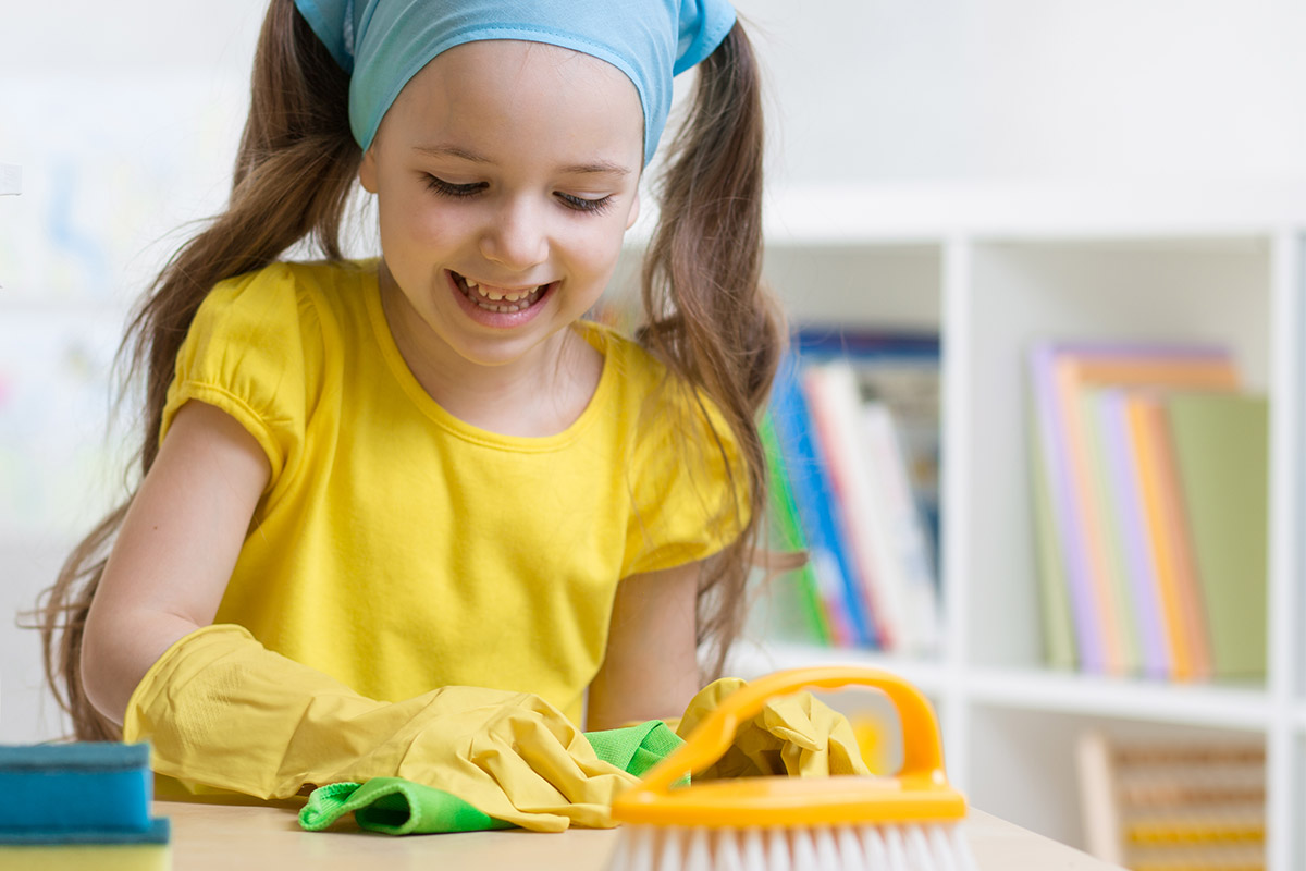 Environmentally friendly ways to clean your classroom girl student cleaning teacher school