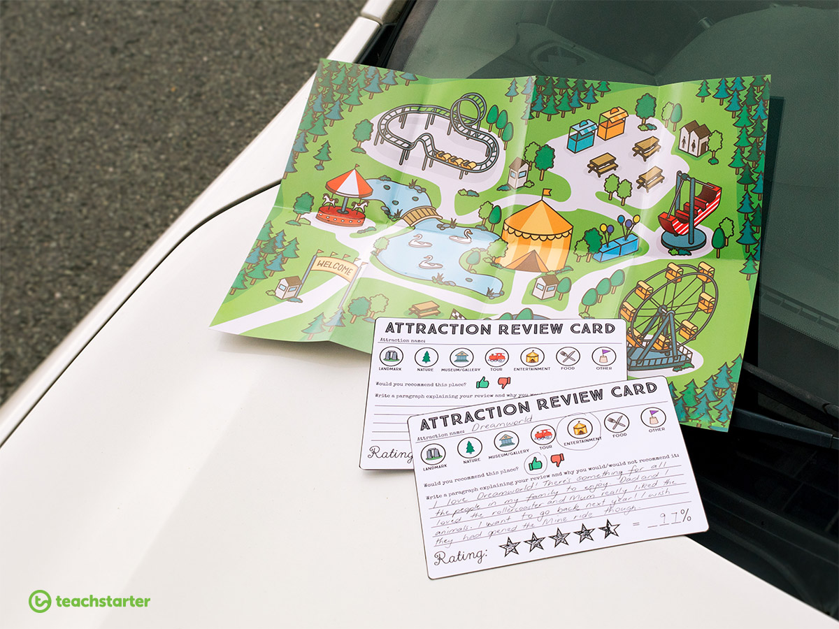 Road Trip Activities - Attraction Review Cards