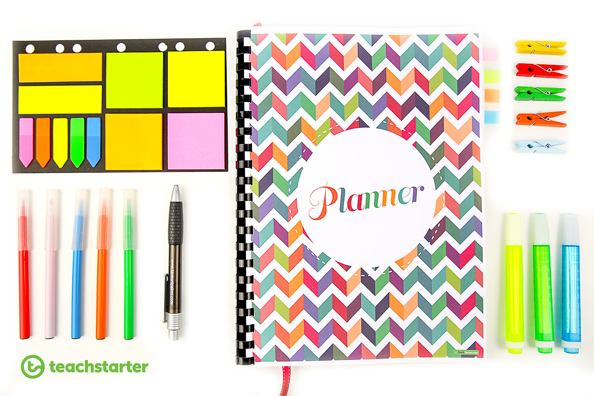 Downloadable Teacher Planner 2019 Chevron rainbow colours love teaching