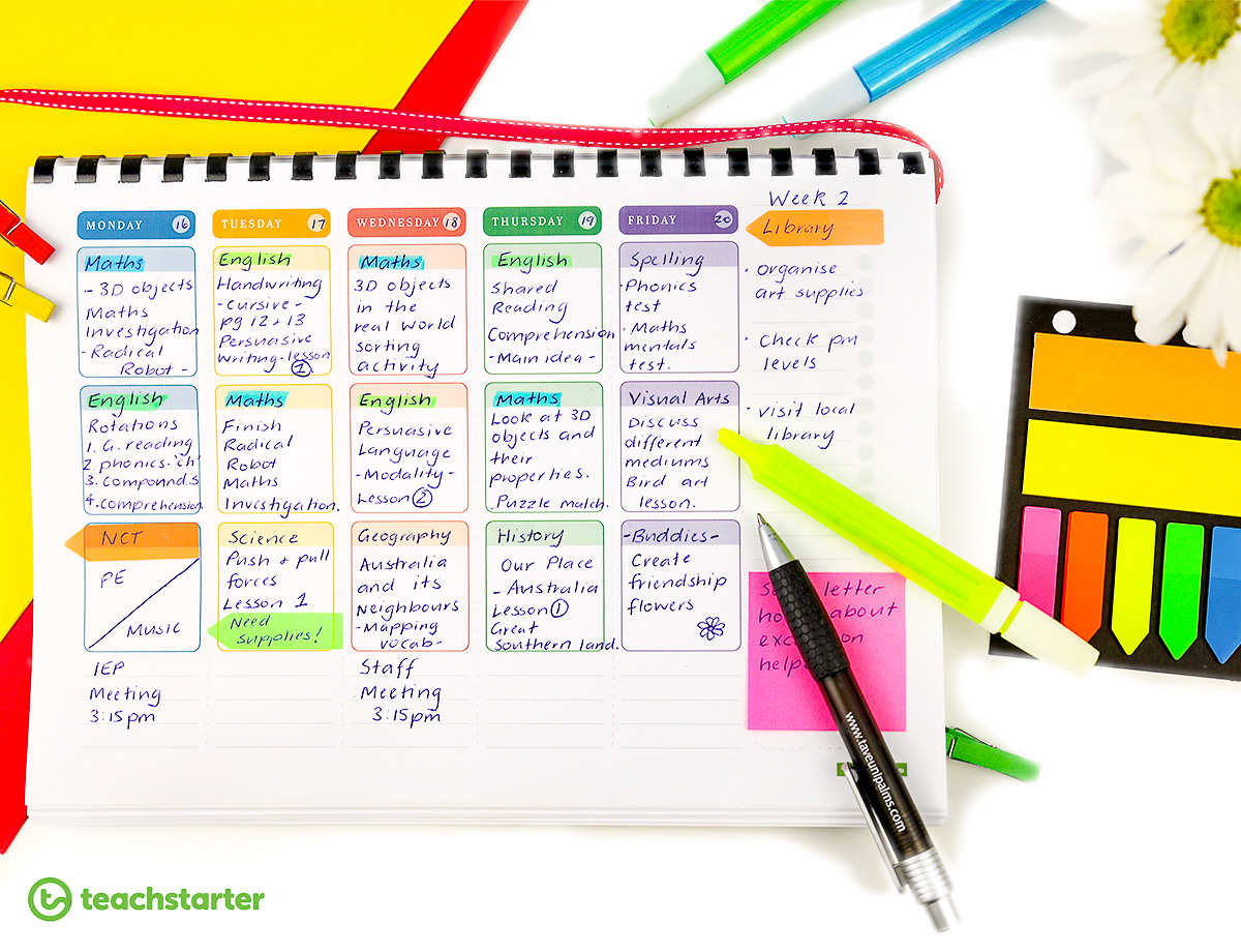 Downloadable Teacher Planner Planning Marking Teaching Desk Highlighters
