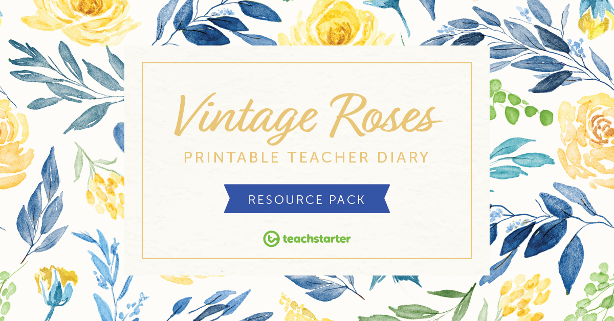 Vintage Roses Elegant Teacher Planner Downloadable Floral Watercolour Diary