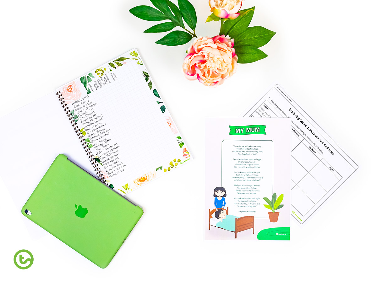 Blush blooms teacher planner