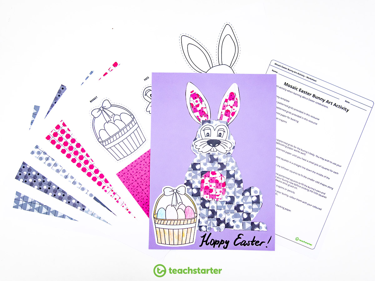 Mosaic Easter Craft Activities - Bunny