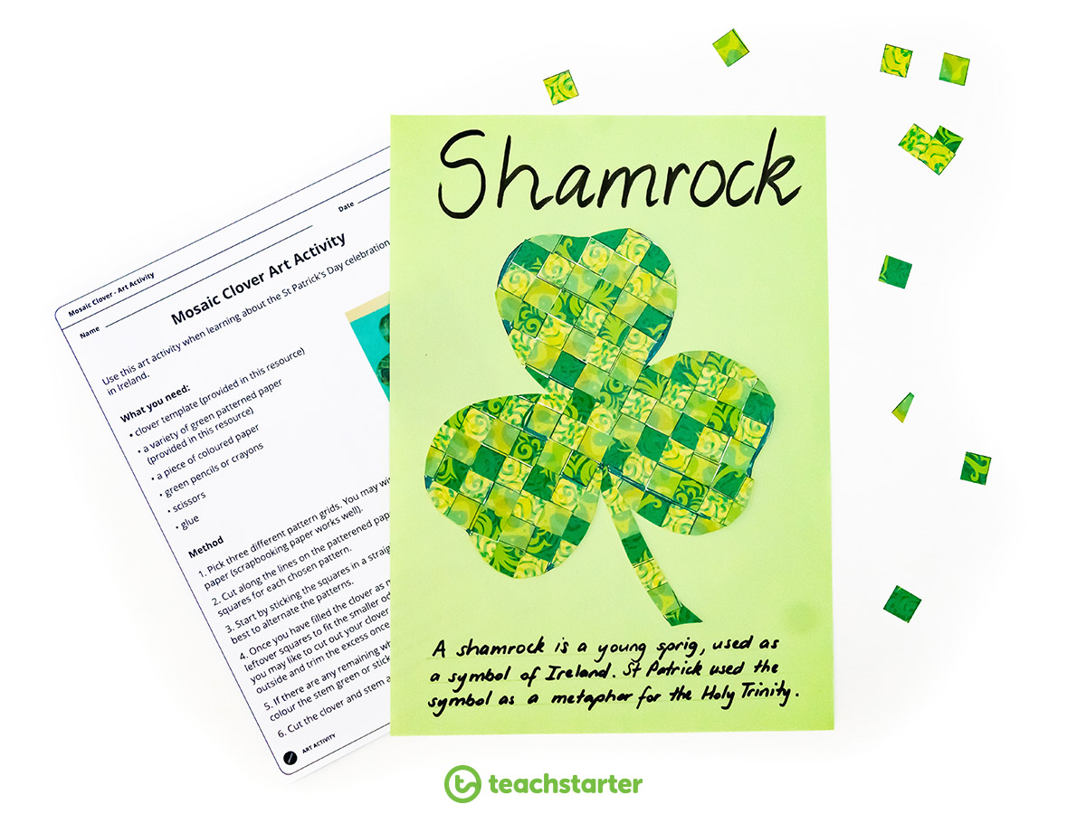 St Patrick's Day Activities - Mosaic Clover Art Activity