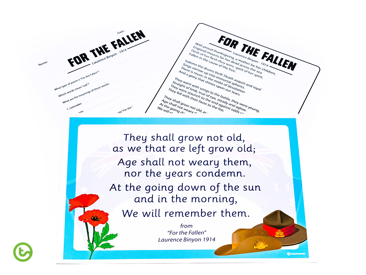 Anzac Day Activities - For the Fallen