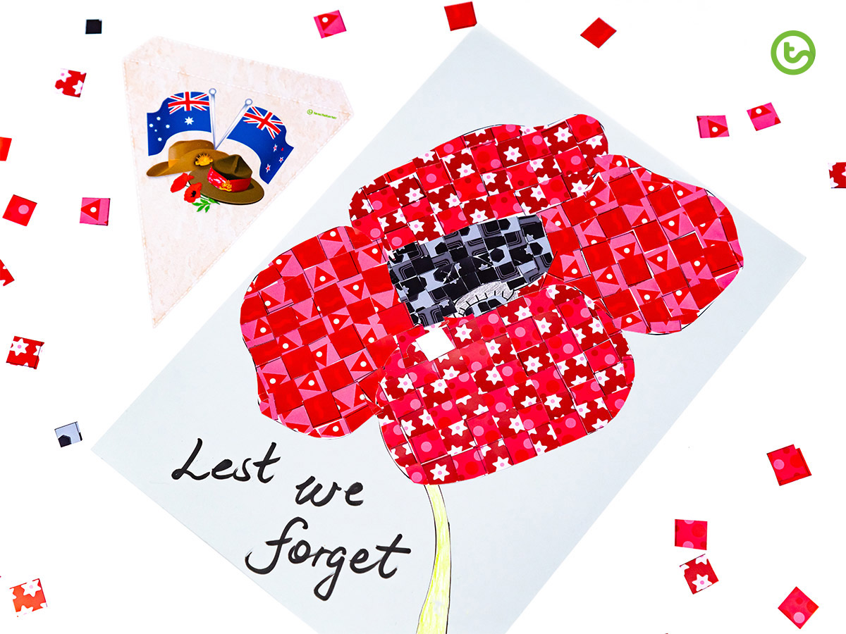 Anzac Day Activities - Mosaic Poppy Art