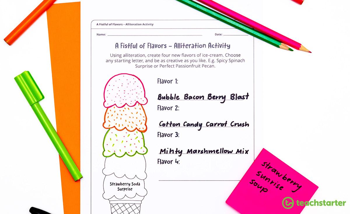 ice cream alliteration activitiy