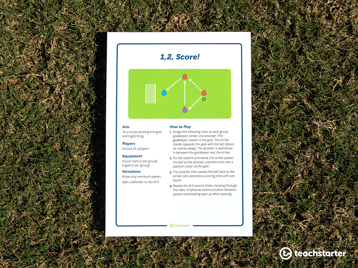 Your students will love the soccer drill, 1, 2, Score!