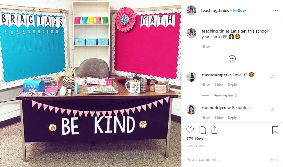 Teacher Desk Organisation - Be kind! Use your desk to promote positive messages.
