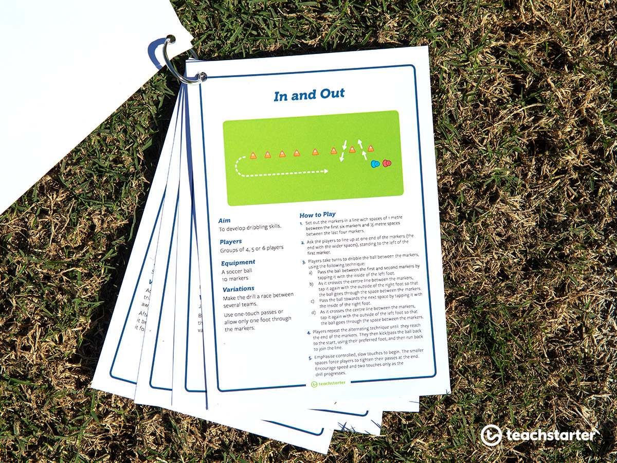 Carry you football drill task cards on a keyring.