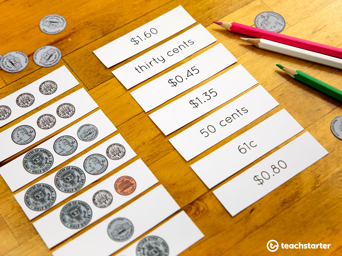 Teaching Money and Financial Mathematics - use fake coins to complete work activities
