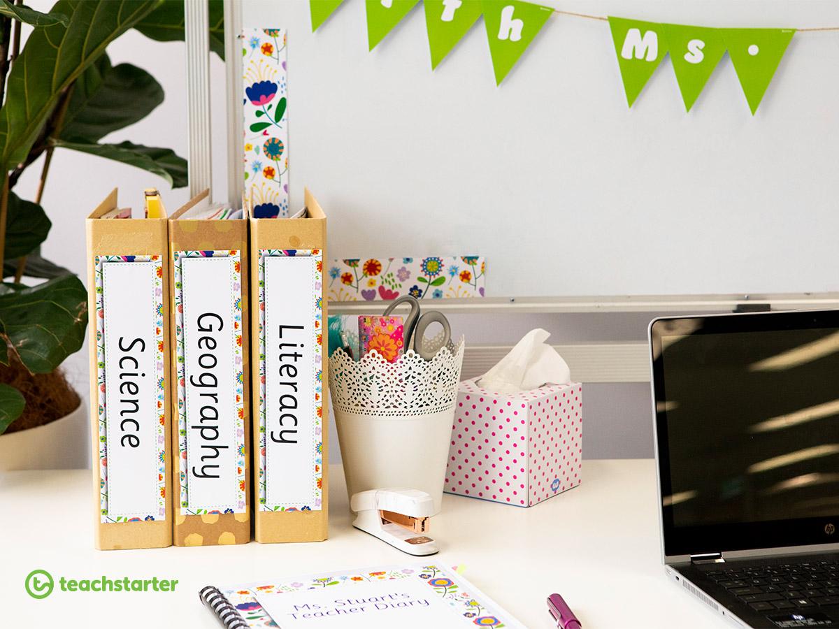 Teacher Desk Organisation Inspiration - #teacherdesk with these resources!
