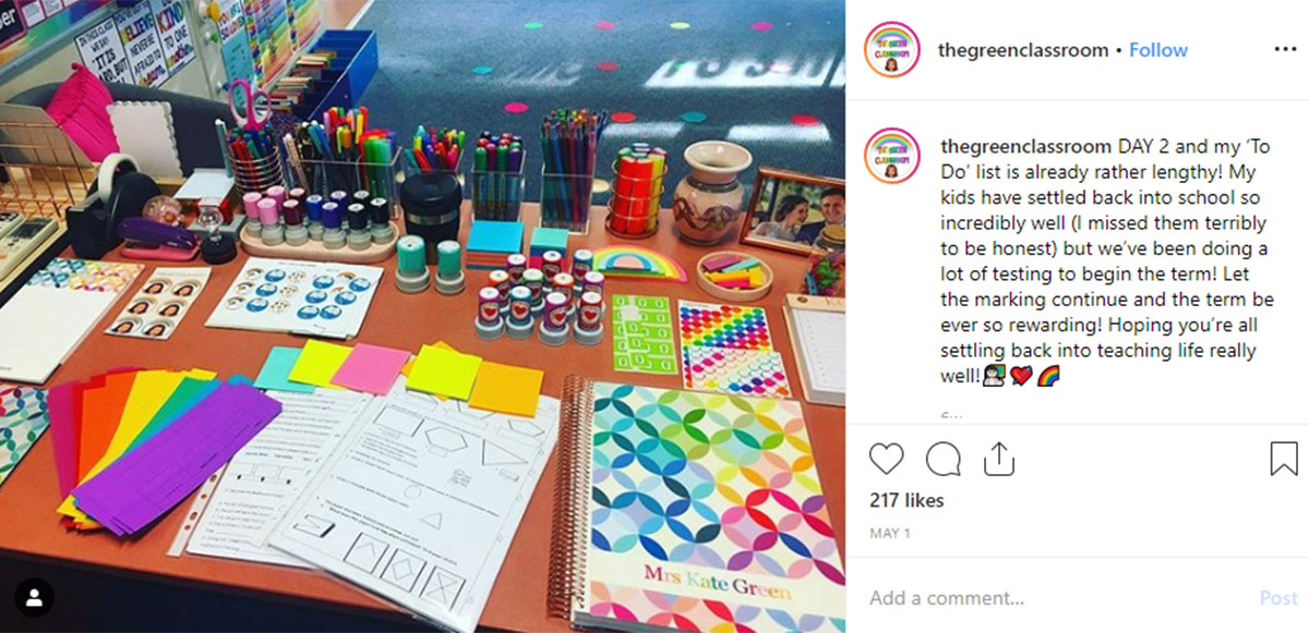 Teacher Desk Organisation - this amazing teacher desk has stamp and sticker goals!