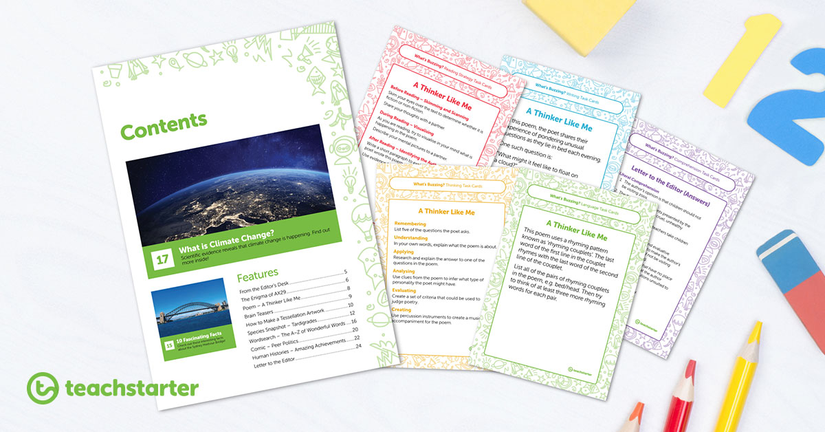 What's Buzzing? Magazine - Use these task cards for comprehension activities with your students