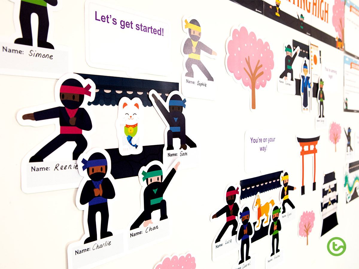 Create a ninja-themed Bump It Up Wall that your students will love.