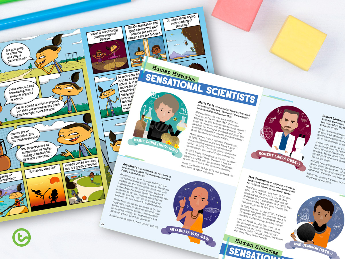 Find 10 different text types in this magazine for students.