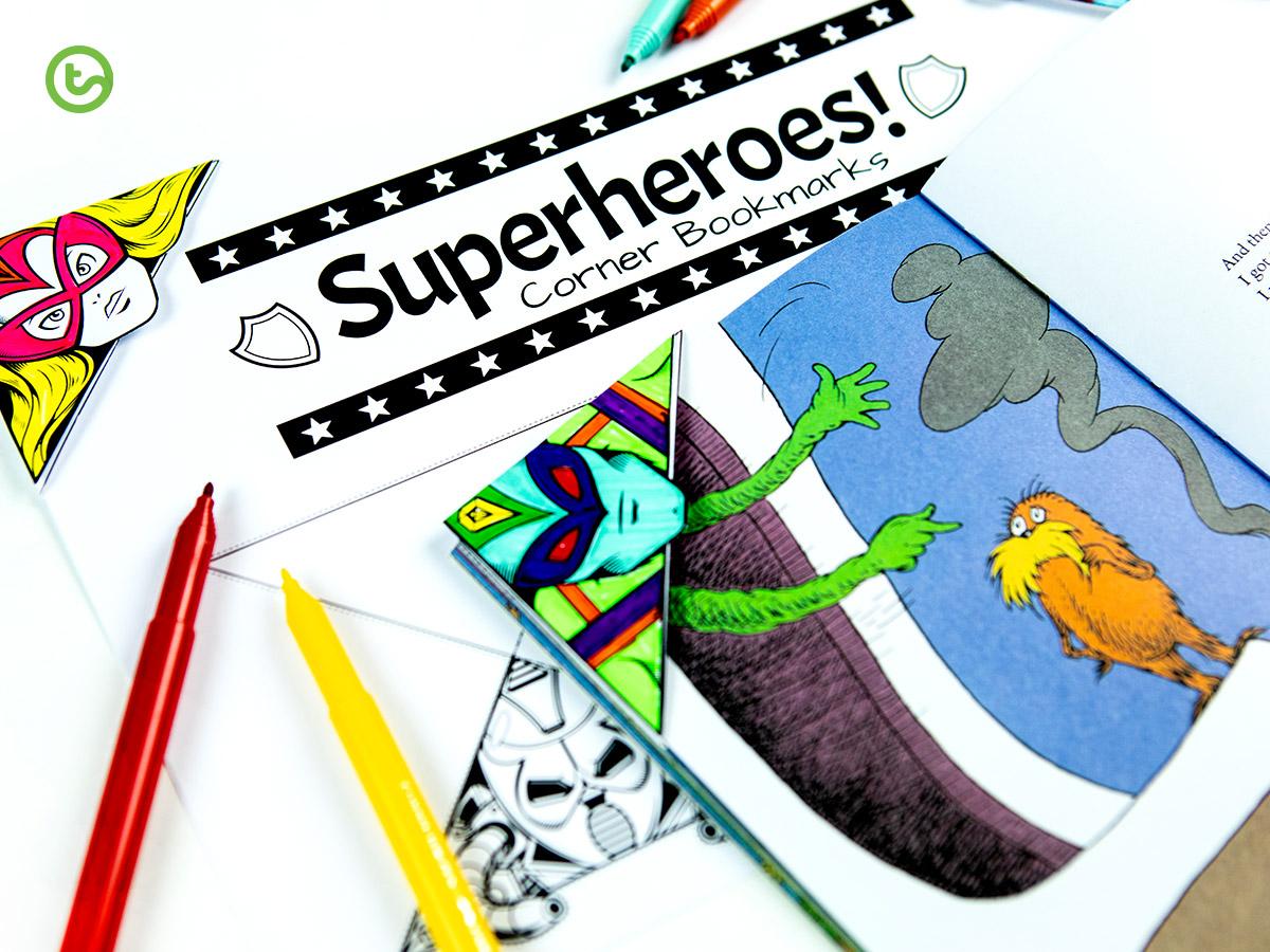 Superhero inspired corner bookmark templates