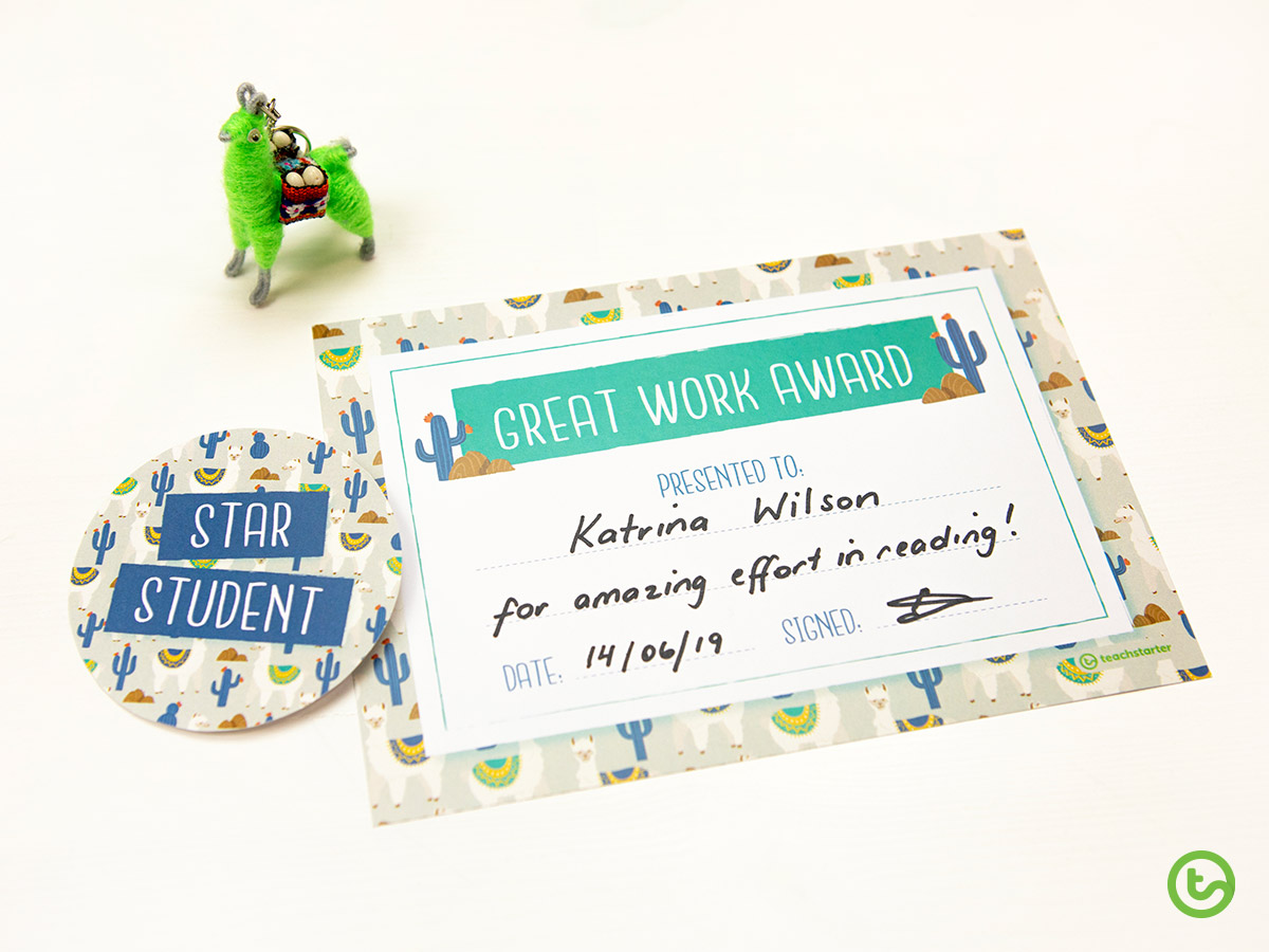 Llama and Cactus Classroom Theme Pack - Reward your students
