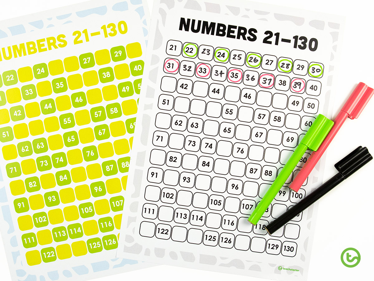 Use numbers chart for maths warm-up ideas.