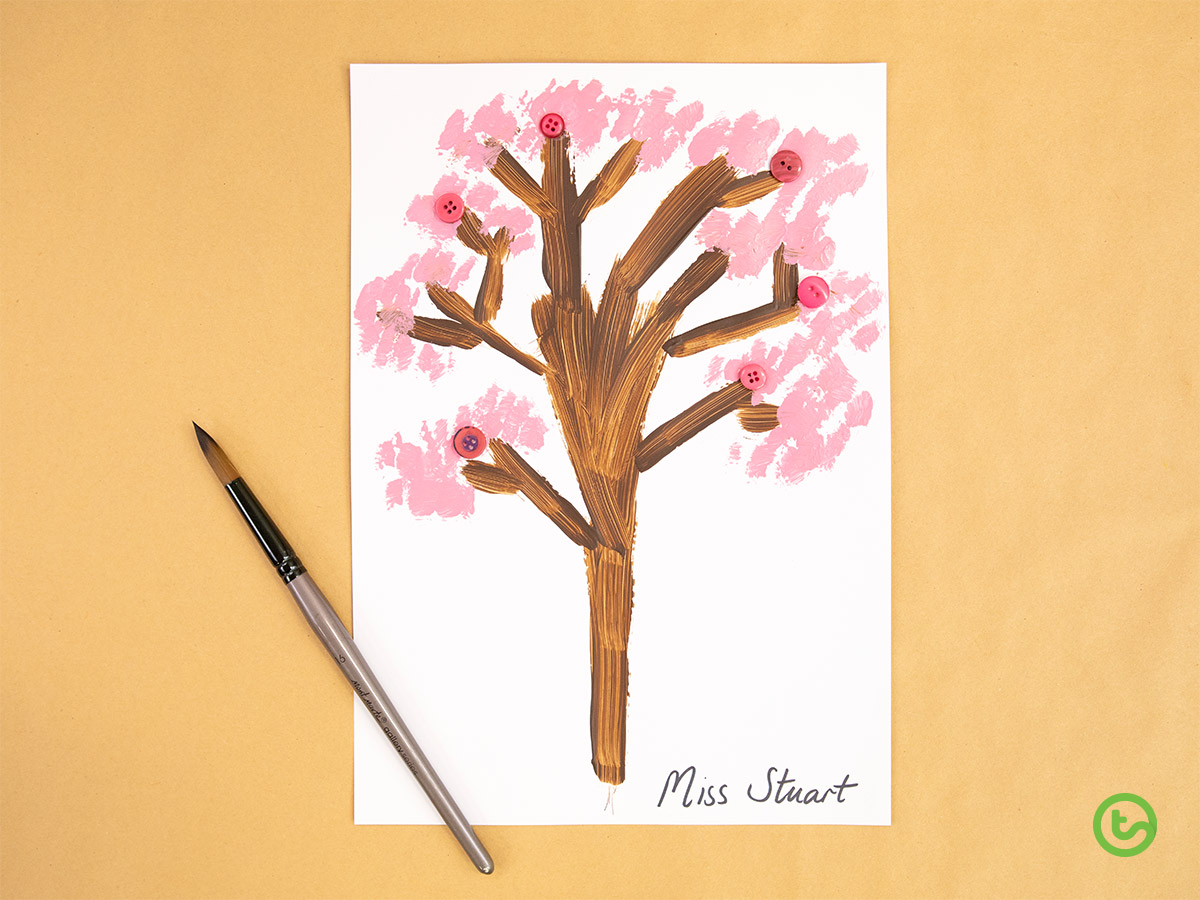 Spring Activities for Kids - Beautiful Cherry Blossom Art