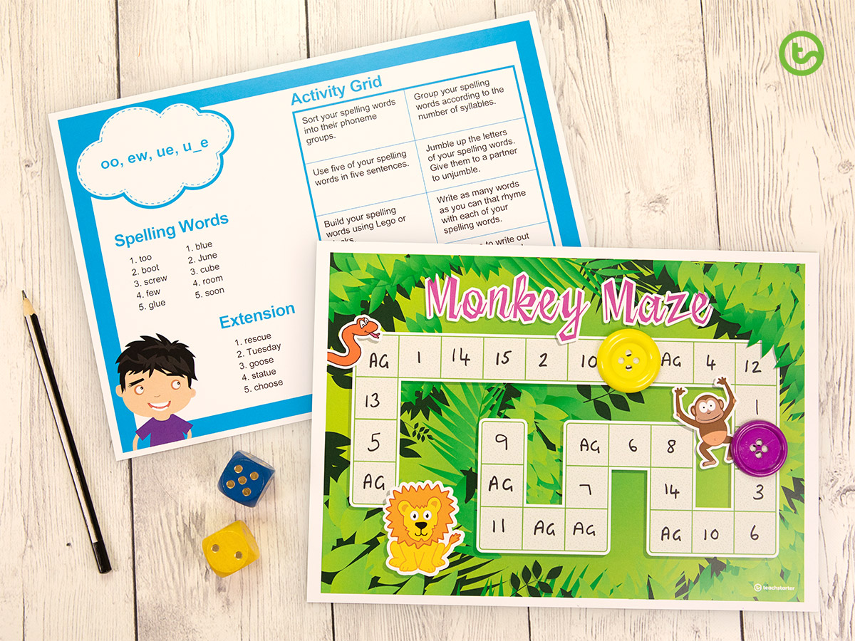 Create a board game by using our Weekly Spelling Words and Activity Grid!