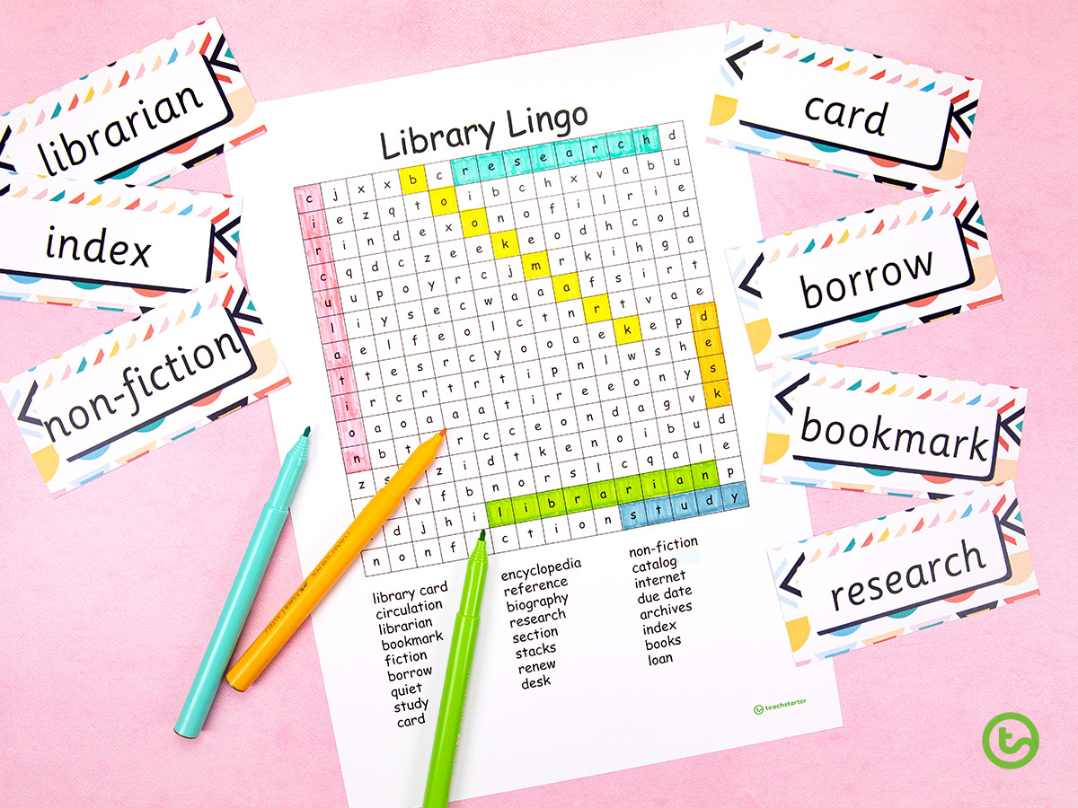 Library Activities for Kids - Making the most of library time - make a word search