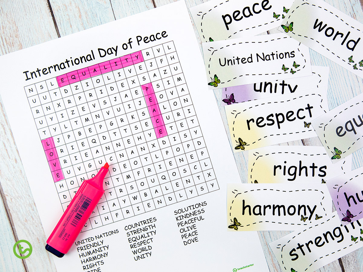 Create a word search for International Day of Peace Day