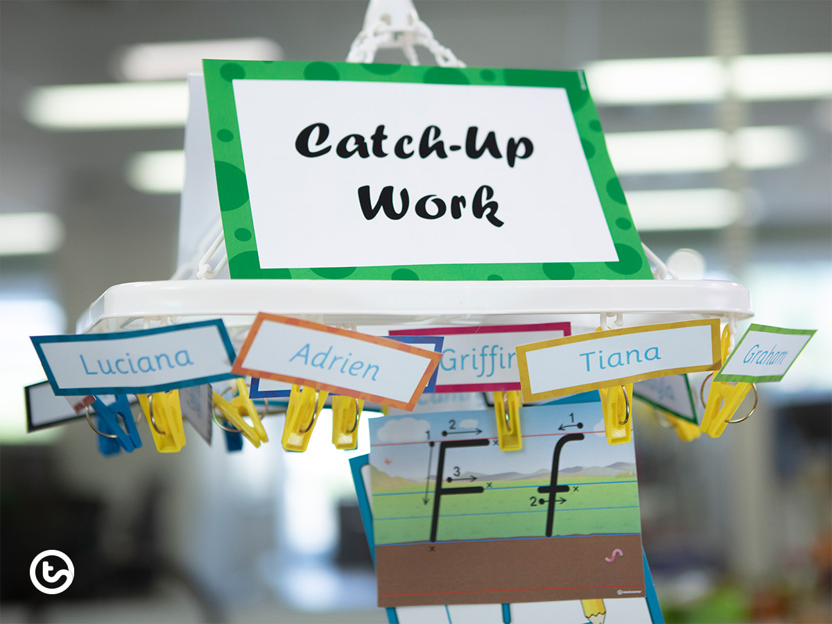 Hacks to help students catch up on missed work - hang work from a hanger