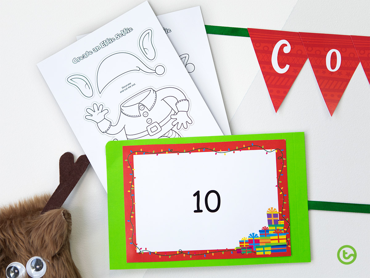 Classroom Advent Calendar - Comprehension Task Cards - Create an Elfie Selfie