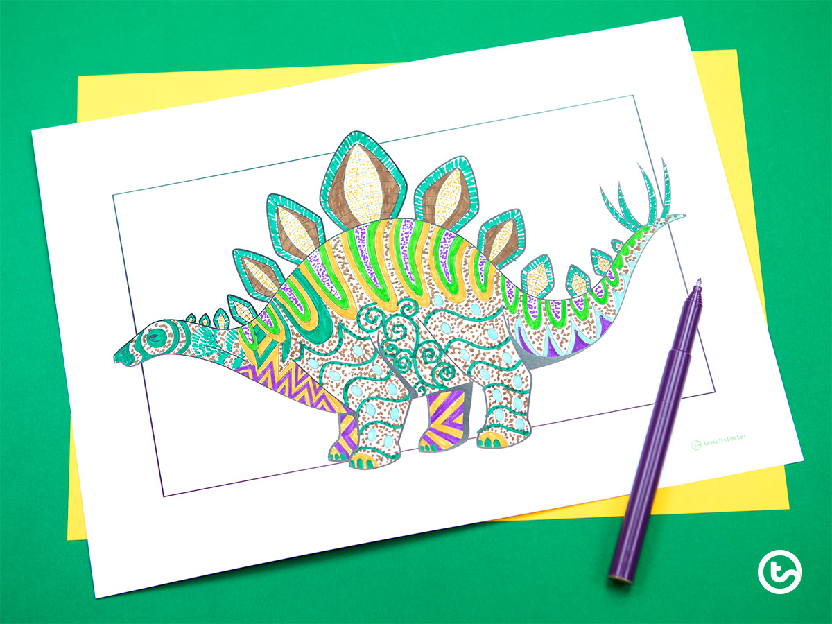 Mindful Coloring Pages - Dinosaur
