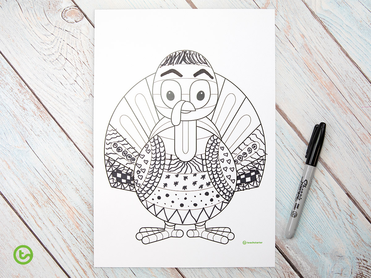 the Funky Turkey Printable - downloadable turkey craft template