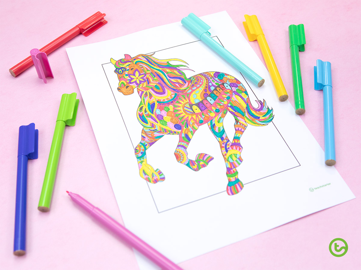 Mindful Coloring Pages - Horse