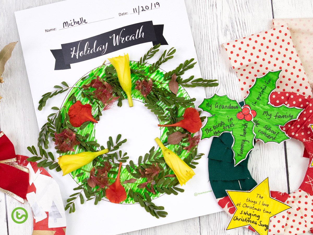 Holiday Wreath Craft - Use this template multiple ways