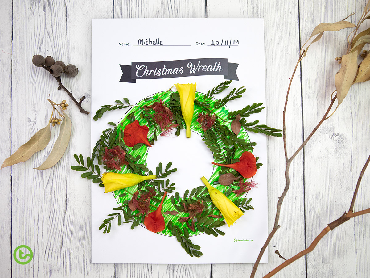 Natural-wreath Christmas Wreath Crafts for Kids - Natural Wreath