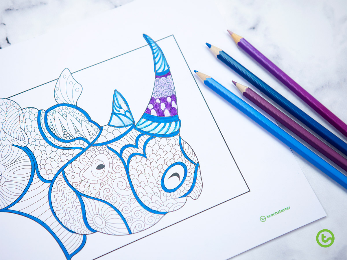 Mindful Coloring Pages - Rhinoceros